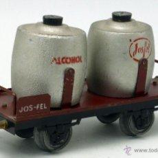 Trenes Escala: VAGÓN MERCANCÍAS JOSFEL PLATAFORMA DEPÓSITOS ALCOHOL ESCALA 0 AÑOS 40. Lote 52045786