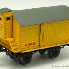 Trenes Escala: VAGÓN MERCANCÍAS JOSFEL TRANSPORTE CERRADO AMARILLO ESCALA 0 AÑOS 40. Lote 52048410