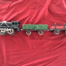 Trenes Escala: LOCOMOTORA Y DOS VAGONES, TREN PAYA ESC.0 AÑOS 50. Lote 58248851
