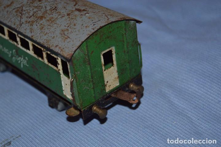 Trenes Escala: JOSFEL escala 0 - Raro vagón LÍNEAS JOSFEL de 8 ventanas - En hojalata - Original Años 50/60 - Foto 2 - 66914326