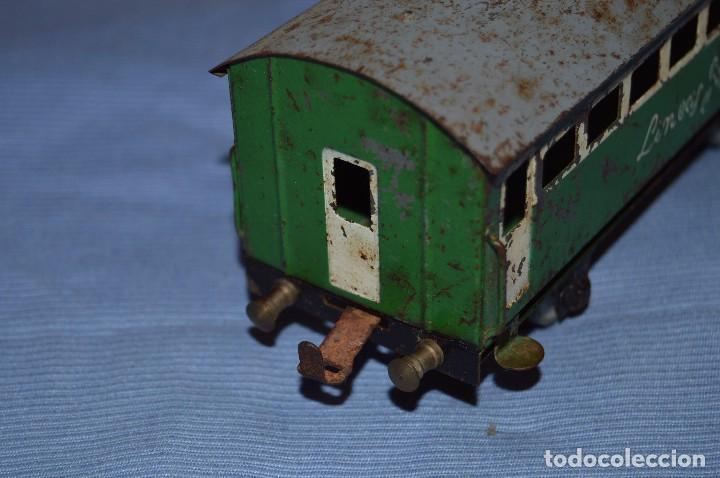 Trenes Escala: JOSFEL escala 0 - Raro vagón LÍNEAS JOSFEL de 8 ventanas - En hojalata - Original Años 50/60 - Foto 3 - 66914326