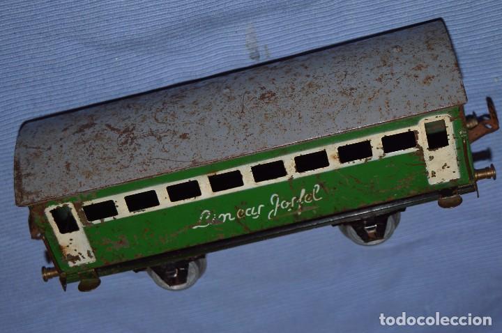 Trenes Escala: JOSFEL escala 0 - Raro vagón LÍNEAS JOSFEL de 8 ventanas - En hojalata - Original Años 50/60 - Foto 4 - 66914326