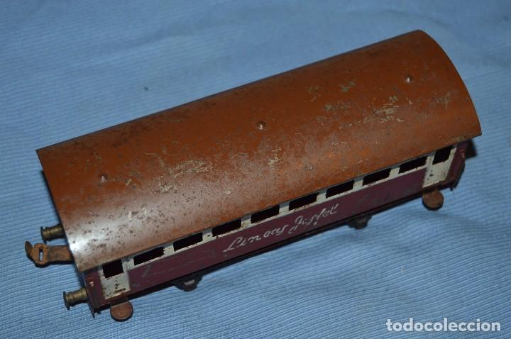 Trenes Escala: JOSFEL escala 0 - Raro vagón LÍNEAS JOSFEL de 8 ventanas - En hojalata - Original Años 50/60 - Foto 2 - 66916482