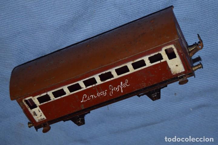 Trenes Escala: JOSFEL escala 0 - Raro vagón LÍNEAS JOSFEL de 8 ventanas - En hojalata - Original Años 50/60 - Foto 3 - 66916482