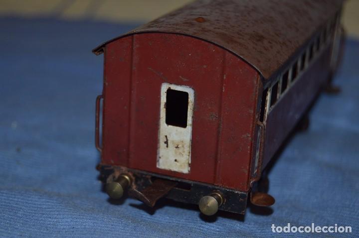 Trenes Escala: JOSFEL escala 0 - Raro vagón LÍNEAS JOSFEL de 8 ventanas - En hojalata - Original Años 50/60 - Foto 5 - 66916482