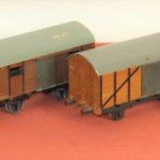 Trenes Escala: LOTE DE 6 VAGÓNES DE CARGA. METAL Y MADERA. ESCALA 0. MANAMO. ESPAÑA. CIRCA 1940. Lote 69042801