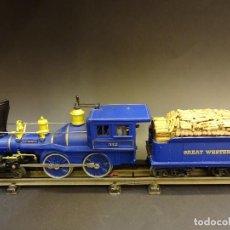 Trenes Escala: MAGNÍFICA LOCOMOTORA + TENDER GREAT WESTERN R. R. ESCALA 0 . FUNCIONANDO. Lote 72287127
