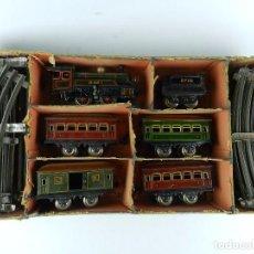 Trenes Escala: TREN BING ESCALA O, MADE IN GERMANY, REALIZADO EN HOJALATA LITOGRAFIADA, MUY COMPLETO CON SUS VAGONE. Lote 80829795