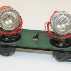 Trenes Escala: VAGÓN CON 2 FOCOS. HOJALATA. ELECTROTREN. ESCALA 0. ESPAÑA. CIRCA 1950.. Lote 89988776
