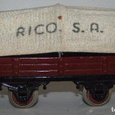 Trenes Escala: VAGON DE CARGA CON TOLDO DE RICO, ESCALA 0, EXCELENTE ESTADO.. Lote 91735110