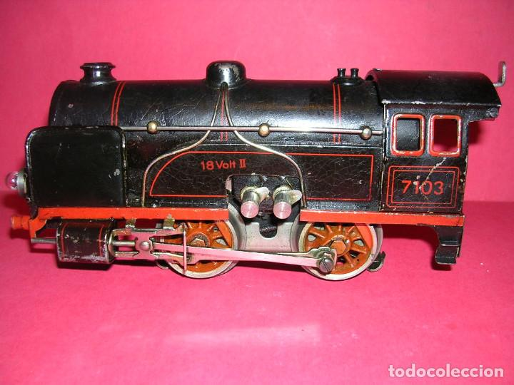TREN BING -1930 .ELECTRICO 18 V. LOCO +TENDER + 2 VAGONES (Juguetes - Trenes Escala 0)