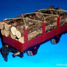 Trenes Escala: VAGÓN PORTA TRONCOS REF. 1503, FABRICADO EN LATA, ESC.0, MIDE 19 CMS, ELECTROTREN BARCELONA, AÑOS 50. Lote 123881308