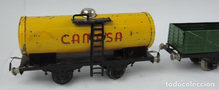Trenes Escala: 3 Vagones Rico, Vagón Cisterna Campsa y dos Vagones de mercancias, Años 50. Escala 0. Ver todas las - Foto 2 - 133880330