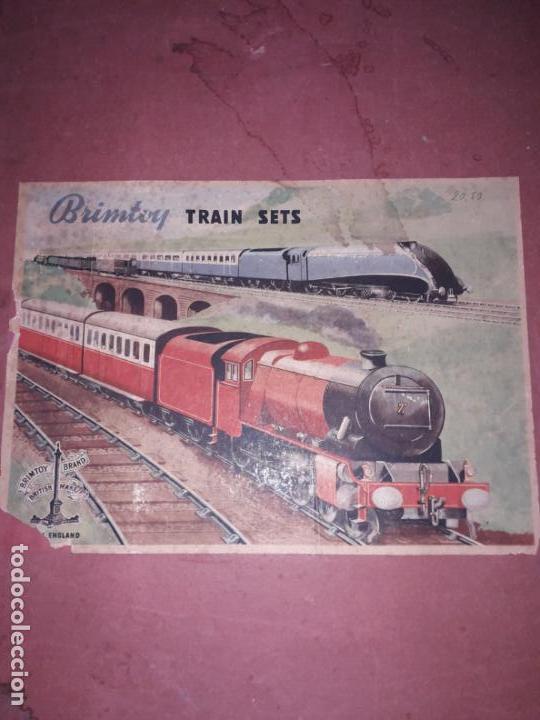 Trenes Escala: TREN BRIMTOY MADE IN ENGLAND 1930, TREN ANTIGUO, TREN A CUERDA,JUGUETE ANTIGUO - Foto 2 - 158913982