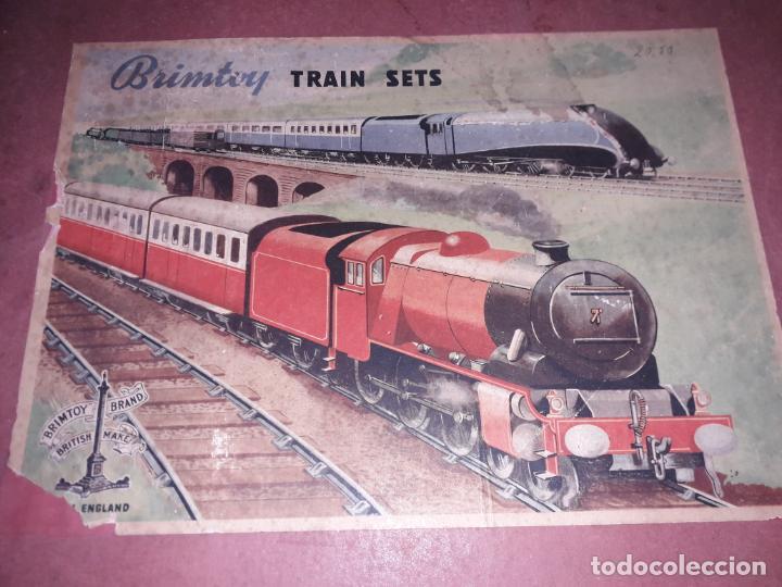 Trenes Escala: TREN BRIMTOY MADE IN ENGLAND 1930, TREN ANTIGUO, TREN A CUERDA,JUGUETE ANTIGUO - Foto 3 - 158913982