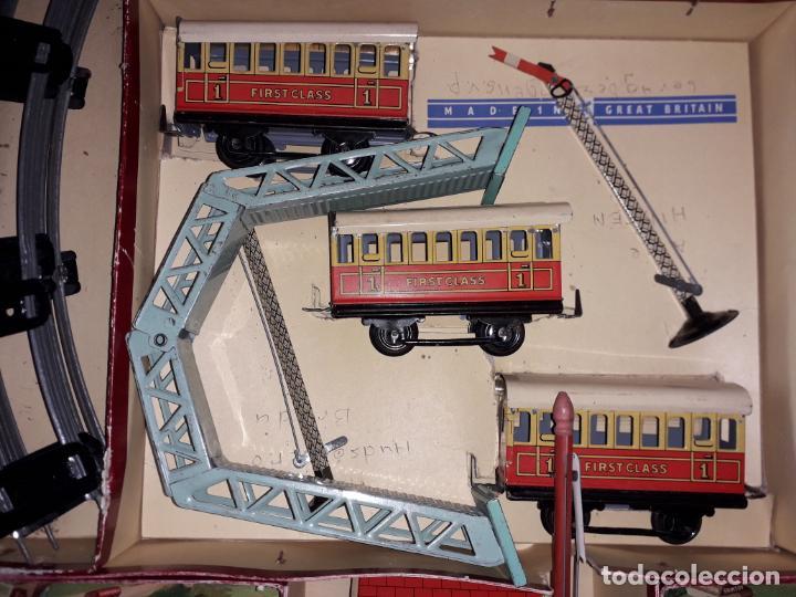 Trenes Escala: TREN BRIMTOY MADE IN ENGLAND 1930, TREN ANTIGUO, TREN A CUERDA,JUGUETE ANTIGUO - Foto 14 - 158913982