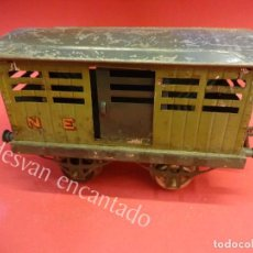 Trenes Escala: ANTIGUO VAGON DE MERCANCIAS HORNBY ESCALA 0 EN HOJALATA LITOGRAFIADA. Lote 162375274