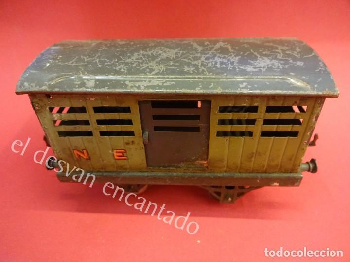Trenes Escala: Antiguo vagon de mercancias HORNBY escala 0 en hojalata litografiada - Foto 2 - 162375274