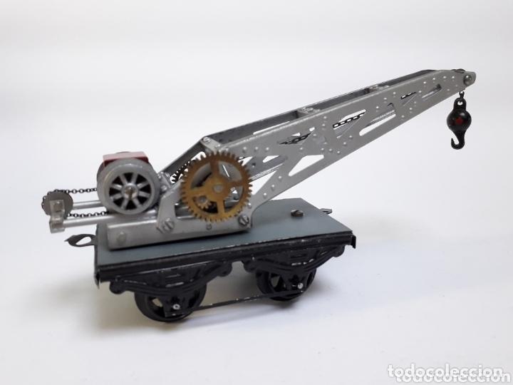 Trenes Escala: Antiguo vagón grúa metálico escala 0 - Foto 4 - 174177929