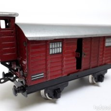 Trenes Escala: ANTIGUO VAGÓN DE MERCANCÍAS EN HOJALATA CON TORRETA ESCALA 0. Lote 174179900