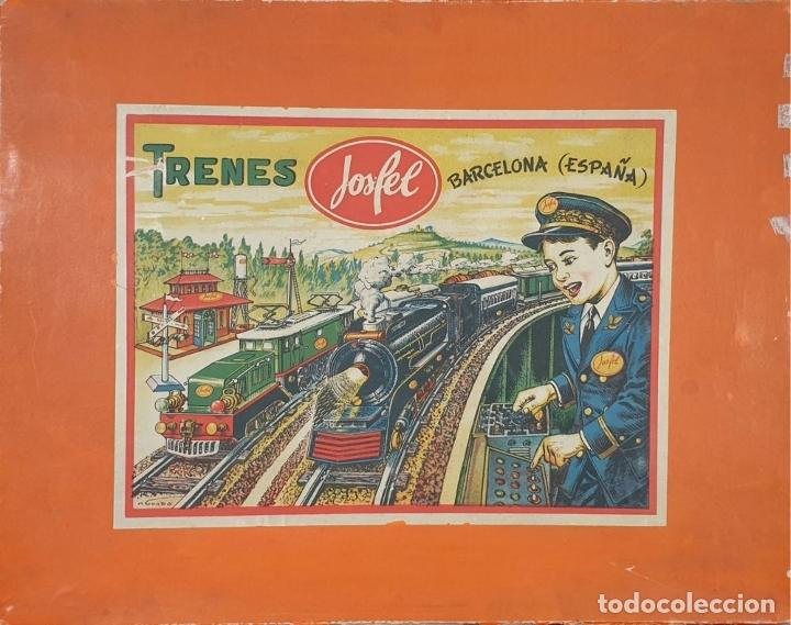 Trenes Escala: TREN ELECTRICO JOSFEL. LOCOMOTORA Y 5 VAGONES. HOJALATA. ESCALA O. CIRCA 1950. - Foto 6 - 175562377