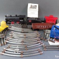 Trenes Escala: TREN LIONEL 0 LOCOMOTORA 8601 ROCK ISLAND TENDER 3 VAGONES TRANSFORMADOR Y VÍAS 1978 FUNCIONA. Lote 175990355