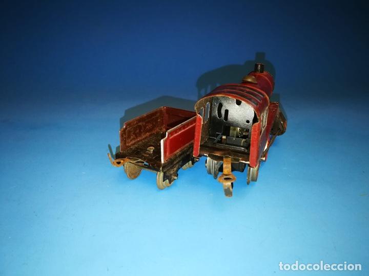 Trenes Escala: LOCOMOTORA PAYA ROJA A CUERDA ESCALA 0 RARISIMA - Foto 3 - 184648465