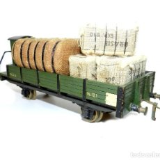 Trenes Escala: VAGÓN BAJO CON GARITA CARGA FARDOS MANAMO, ESCALA 0. 1944.. Lote 186057605