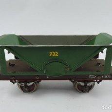 Trenes Escala: ANTIGUO VAGON CARBONERA MARCA PAYA, REALIZADO EN HOJALATA, ESCALA 0, AÑOS 40, N. 732, MUY BUEN ESTAD. Lote 187164671