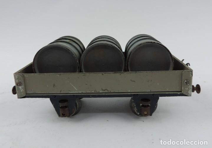 Trenes Escala: Vagón mercancías Josfel plataforma con tres bidones Escala 0 años 40. Con suspensión en topes y bogg - Foto 4 - 187958592