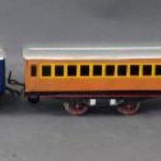 Trenes Escala: TREN FANTASMA PAYÁ 0 LOCOMOTORA ELÉCTRICA 3 VAGONES PASAJEROS Y FURGÓN CORREO AÑOS 50. Lote 189087556