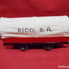 Trenes Escala: ANTIGUO VAGON DE CARGA CON TOLDO DE RICO - ESCALA 0 - AÑOS 40/50 -. Lote 190992027