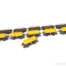 Trenes Escala: LOTE 11 VAGONES DE CISTERNA Y PORTA COCHES, ARTESANO BARCELONA AÑOS 40. ESCALA 0.. Lote 195314008