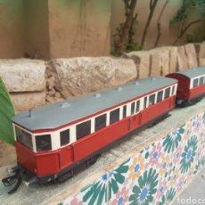 Trenes Escala: AUTOMOTOR Y COCHE REMOLQUE DE BOGIES, TRES RAÍLES, ESCALA 0. Lote 211390747