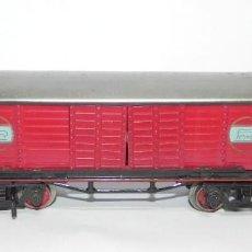Trenes Escala: VAGON DE PAYA, MERCANCIAS FURGON DE COLA ROJO, ESCALA 0, PUERTAS CORREDERAS, BUEN ESTADO. FALTA UN T. Lote 228349120