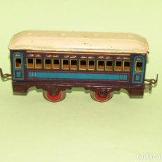 Trenes Escala: ANTIGUO COCHE DE VIAJEROS 2ª CLASE DE CHAPA LITOGRAFIADA AZUL Y ROJO ESCALA *0* DE PAYA . AÑO 1930S.. Lote 235273160
