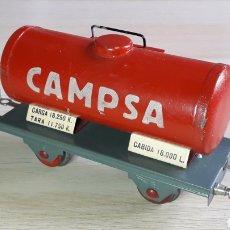 Trenes Escala: VAGÓN CISTERNA CAMPSA # 202, FABRICADO EN METAL ESC. 0, RIBAS BARCELONA TIPO PAYA, ORIGINAL AÑOS 50.. Lote 237593025