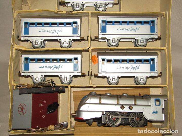 Trenes Escala: Antiguo Tren Completo de Viajeros JOSFEL - Locomotora, Tender, 4 Coches de Viajeros en Caja Original - Foto 13 - 250222965