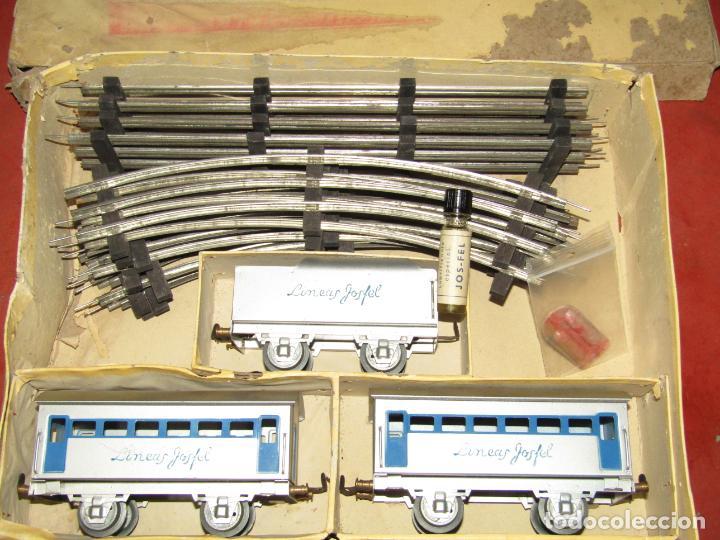Trenes Escala: Antiguo Tren Completo de Viajeros JOSFEL - Locomotora, Tender, 4 Coches de Viajeros en Caja Original - Foto 27 - 250222965