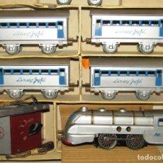 Comboios Escala: ANTIGUO TREN COMPLETO DE VIAJEROS JOSFEL - LOCOMOTORA, TENDER, 4 COCHES DE VIAJEROS EN CAJA ORIGINAL. Lote 250222965