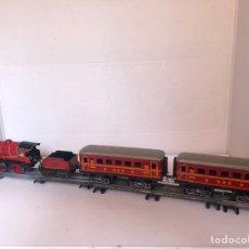 Trenes Escala: LOCOMOTORA HORNBY CON TENDER Y DOS VAGONES ESCALA0. Lote 277543933