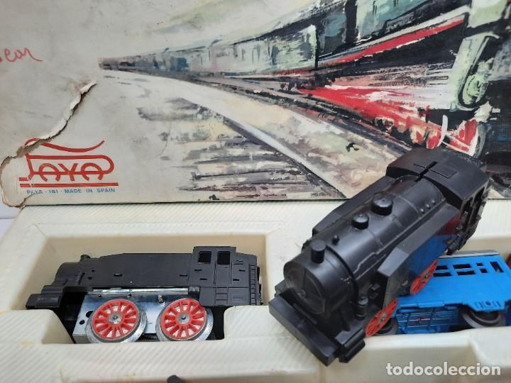 Trenes Escala: PAYÁ TREN FERROCARRIL MECANICO ESCALA 0 CON 2 LOCOMOTORAS Y 4 VAGONES PAYA - Foto 8 - 288886788