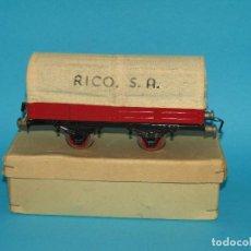 Trenes Escala: ANTIGUO VAGÓN CON TOLDO DE LONA CON CAJA ORIGINAL EN ESCALA *0* REF. 5034 DE JUGUETES RICO IBI. Lote 288948313