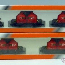 Trenes Escala: TREN MERCANCÍAS ARNOLD N LOCOMOTORA Y CUATRO VAGONES CISTERNA REF 0254 - 0255 CON CAJAS. Lote 46447836