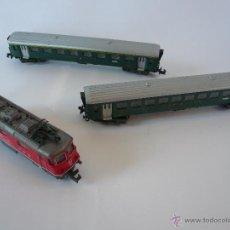 Trenes Escala: LOTE DE MAQUINA DE TREN Y DOS VAGONES ARNOLD N RAPIDO. Lote 54574052