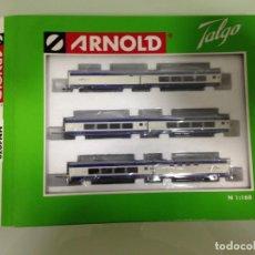 Trenes Escala: TREN, TALGO PENDULAR, GRANDES LINEAS RENFE, CONJUNTO DE 8 COCHES, ARNOLD HN 4070, NUEVO A ESTRENAR. Lote 130486266