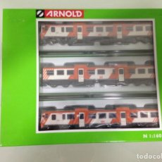 Trenes Escala: TREN, AUTOMOTOR DIESEL 592 RENFE, CAMELLO NARANJA, ARNOLD HN2171, NUEVO A ESTRENAR. Lote 130486550