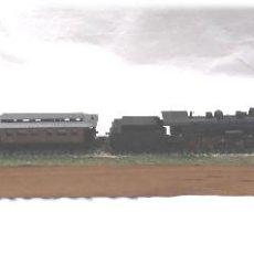 Trenes Escala: LOCOMOTORA VAPOR ARNOLD, VAGON PASAJEROS LIMA Y CARGA IBERTREN ESC N, DIORAMA CON LUZ. Lote 230450160