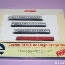 Trenes Escala: ANTIGUA COMPOSICIÓN COCHES RENFE DE LARGO RECORRIDO EN ESCALA *N* DE ARNOLD MADE IN GERMANY. Lote 241918580