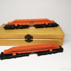 Trenes Escala: 2 VAGONES PLATAFORMA DE 12 EJES PARA CARGA PESADA CON UNA GRAN VIGA MAN, ARNOLD DB. Lote 265659894